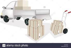 Hand Truck Or Dolly Loading Wooden Crate Or Cargo Box Into A Pickup ...