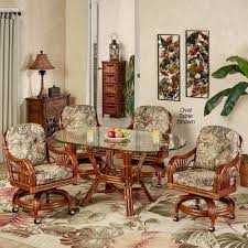 Dinette Sets With Roller Chairs by Leikela Rain Forest Tropical Dining Furniture Set