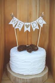We Do Cake Topper Wedding Rustic Burlap White Gold Glitter