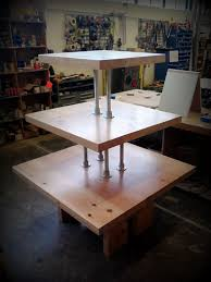 This Three Tiered Merchandizing Table Was Designed And Installed By Gabe For Powell Book Store In Portland Oregon It Is Made Up Of Reclaimed Fir Beams