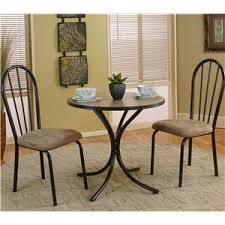 Cramco Inc Linen 3 Piece Round Beige Table with Side Chairs