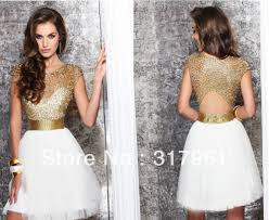 gold and white a line high neck mini cocktail dresses with short