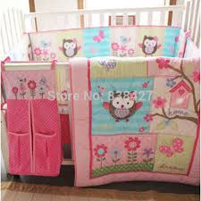 Ups Free  Cotton 7 Pieces Owls Baby Girl Bedding Set Pink