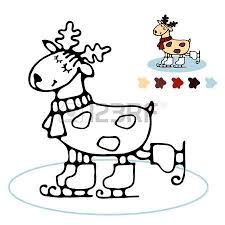 Happy Cute Winter Skating Reindeer Coloring Book For Toddlers With A Simple Contour And Color Example