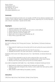 Warehouse Worker Resume Sample Position Examples