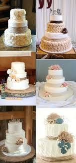 Cakes With Burlap Rustic Inspired And Lace Wedding Themed