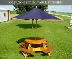 picnic table with umbrella hole outdoorlivingdecor