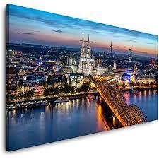paul sinus köln skyline 120x 60cm panorama leinwand bild format wandbilder wohnzimmer wohnung deko kunstdrucke