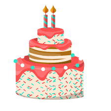 Two candles birthday cake illustration Transparent PNG