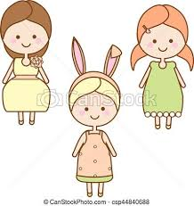Sweet Cartoon Little Kids In Summer Dresses Vector