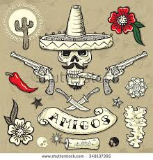 Set Of Vector Elements Mexican Theme Tattoo Art Design New Traditional
