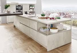 moderne einbauküche norina 2371 weissbeton grifflos