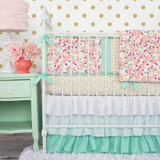Peach and Mint Mini Floral Baby Bedding