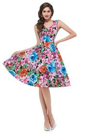 Rockabilly Retro Vintage 60s 70s Women Summer Fashion Dress Square Collar Flower Printed Stretchable Swing A