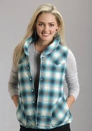 stetson women u0027s turquoise plaid quilted western vest