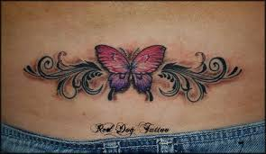 Colorful Butterfly Tattoo Design For Lower Back