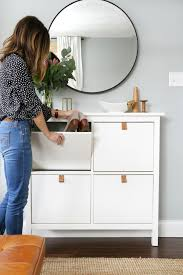 Ikea Hemnes Linen Cabinet Dimensions by How To Add Diy Leather Pulls Made From A 0 99 Belt To The Ikea