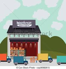 Delivery And Storage Warehouse Design Vector