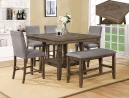 Crown Mark CM2731T 4848 6 Pc Manning Brown Finish Wood Counter Height Dining Table Set With Grey Chairs