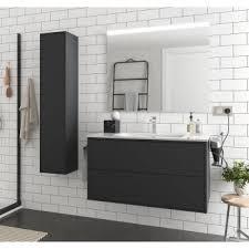 badezimmer badmöbel 100 cm ulisse aus mattes schwarz holz mit porzellan waschtisch