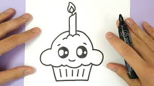 HOW TO DRAW A CUTE BIRTHDAY CUPCAKE