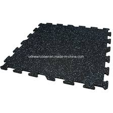 Fitness Center Rubber Flooring Tiles With White EPDM Flecks