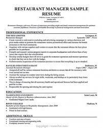 Free Restaurant Manager Trainee Resume Template Imagesample Hospitality