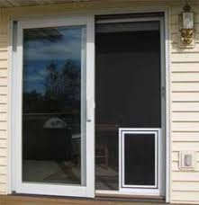 sliding screen doors with pet door photo installed screen pet