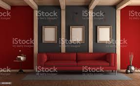 rote und graue elegantes wohnzimmer stockfoto und mehr bilder architektur