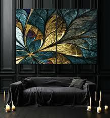 details zu blattgold abstrakt leinwand bild schwarz blau weiß modern wohnzimmer wandbild xl