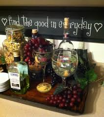 Decorative Wine Bottles Ideas by Tray Fake Cheese And Grapes With Wine Bottles Kitchen Decor