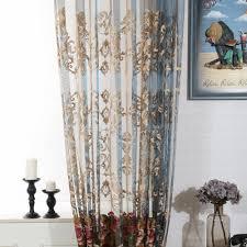 luxus gardinen mit blumen stickerei für wohnzimmer 1er pack