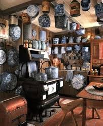 Tons Of Old Blue Graniteware And Stove