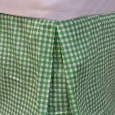 Bright GREEN PLAID TWIN BED SKIRT Geometric Dust Ruffle Gingham