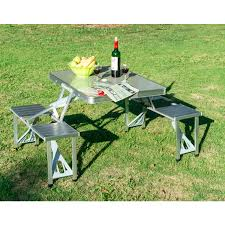 Ebay Patio Table Umbrella by New Outdoor Portable Folding Aluminum Picnic Table 4 Seats Chairs