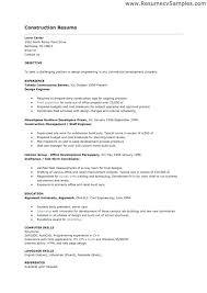Sample Construction Worker Resume Examples And Samples Of Resumes Intended For