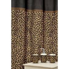 leopard print bathroom accessories set brown shower curtain and