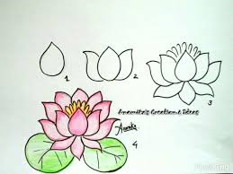 How to draw an easy lotus flower