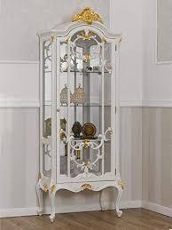 guarracino luxury design vitrine brigitte barock stil decape 1 tür elfenbeinweiß und blattgold