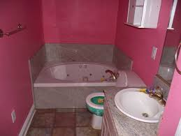 Modern Small Pink Bathroom With White Bathtub And Sink Idea ... Fantastic Brown Bathroom Decorating Ideas On 14 New 97 Stylish Truly Masculine Dcor Digs Refreshing Pink Color Schemes Decoration Home Modern Small With White Bathtub And Sink Idea Grey Unique Top For 3 Apartments That Rock Uncommon Floor Plans Awesome Collection Of Youtube Downstairs Toilet Scheme