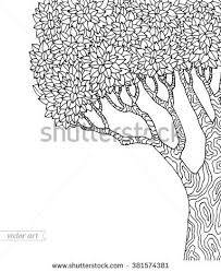 Forest Tree Isolated Big Old Vector Botany Detailed Artwork Coloring Book Page