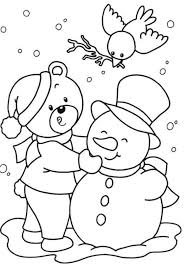 Snowman Winter Free Christmas Coloring Pages For Kids