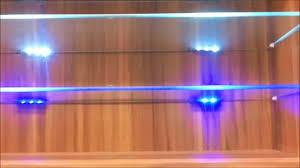 blue led lights edge lit glass cabinet shelf backlighting how to