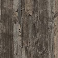 French Provincial Rustic Timber Wood Effect Wallpaper In Dark Grey Brown