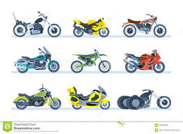 Ground Vehicles. Different Types Of Motorcycles: Sports, Tourist ...