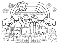 Noahs Ark Coloring Page Of Noah And The Animals With Rainbow