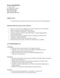 Sample Resume For Police Officer Objective Objectives