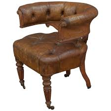 English Tufted Leather Desk Chair For Sale at 1stdibs