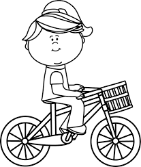 600x707 Black Amp White Girl Riding A Bicycle With Basket Clip Art