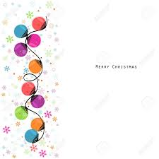 circle light bulbs and snowflakes greeting card vector